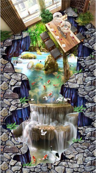 3D tree water fish 5180 Floor WallPaper Murals Wall Print Decal 5D AJ WALLPAPER