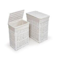 Item 7 White Laundry Hamper Clothes Basket Cotton Liners Set 2 Bin Storage Organizer