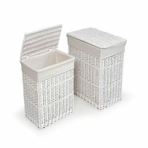 Image Is Loading White Laundry Hamper Clothes Basket Cotton Liners Set