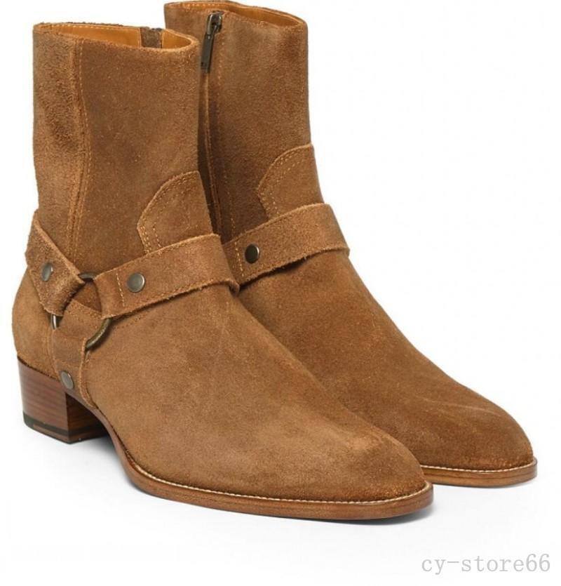 merce di alta qualità e servizio conveniente e onesto Top Sale Uomo Pointed Toe Real Leather Suede Buckle Buckle Buckle Ankle Cowboy stivali scarpe  prezzo all'ingrosso