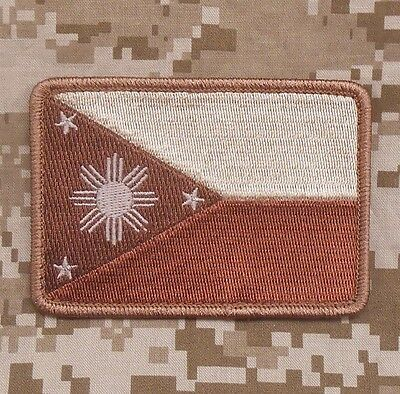 PHILIPPINES FLAG TACTICAL FILIPINO ARMY DESERT ARID VELCRO® BRAND FASTENER PATCH