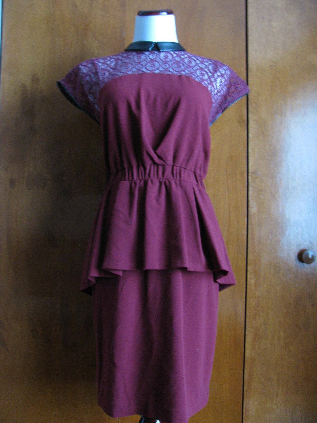 W118 By Walter Baker Women's Burgundy Peplum Evening Dress Size Large NWT