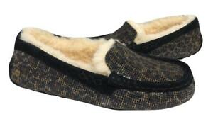 95a811ca729 Details about New NIB Ugg Ansley Black Gold Glitter Leopard Moccasin  Slippers Suede Shearling