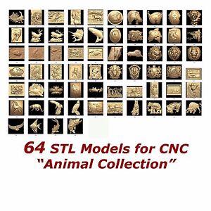 64-3d-STL-Models-034-Animal-Collection-034-for-CNC-relief-artcam-3d-printer-aspire