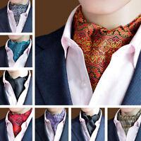 Mens Gentlemen Jacquard Paisley Dots Silk Long Scarf Cravat Ascot Tie Necktie