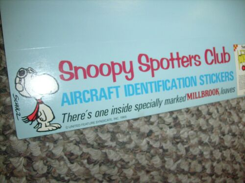 Snoopy Spotter Club Peanuts Millbrook Bread  Advertising Pilot Ace WWI SIGN