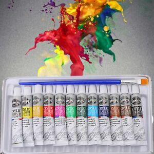 12-Colors-6ml-Acrylic-Paint-Set-Tubes-Artist-Draw-Painting-Pigment-With-Brush