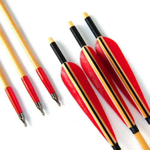 """6pcs Wooden Arrows Archery Longbow 31/"""" Wood Arrow Turkeys Feather"""