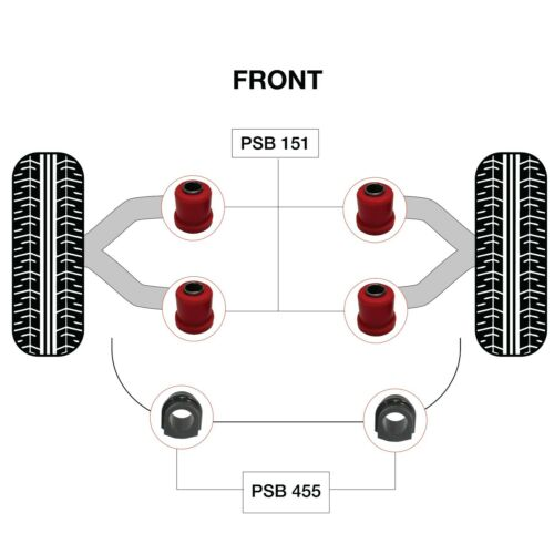 PSB Poly Bushing Complete Front Upper Arm /& ARB Kit For Nissan Terrano 1995-2004