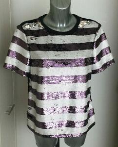 New M/&S Per Una Sequin Stripe Black White Purple Top Sz UK 12