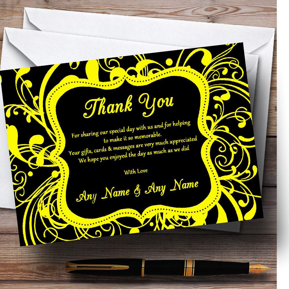 Negro Y Amarillo remolino Deco Personalizado Boda Tarjetas De Agradecimiento