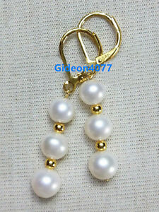 PERFECT-AAA-7-8-MM-Real-natural-akoya-white-pearl-earrings-14K-yellow-gold