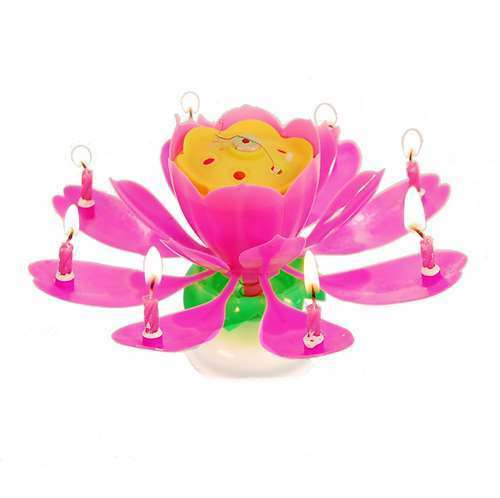 Spinning Musical Birthday Candle Flower Party Gift Sparkler Cake Topper Rotating
