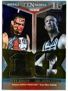 TNA-Jeff-Hardy-amp-Mr-Anderson-2012-TENacious-GOLD-Dual-Relic-Card-SN-71-of-80