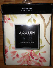 J. Queen NY AVERY Shower CURTAIN Bath Rug TOWELS Dispenser 5PC Set Coral Pink