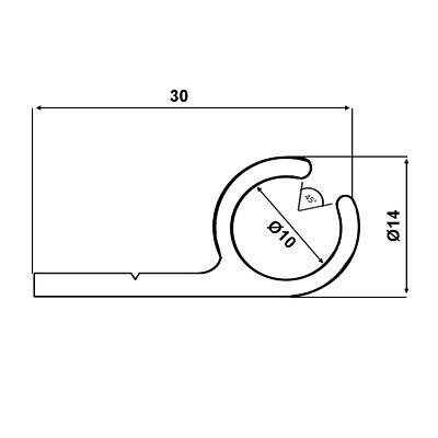 (6€/m) Kederschiene 1,80 M Alu Eloxiert 14x30mm Zeltkeder 7,5-8,5mm 45°