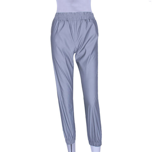 Fashion Flash Reflective Jogger Pants Women Casual Solid Harem Trousers Pants AB