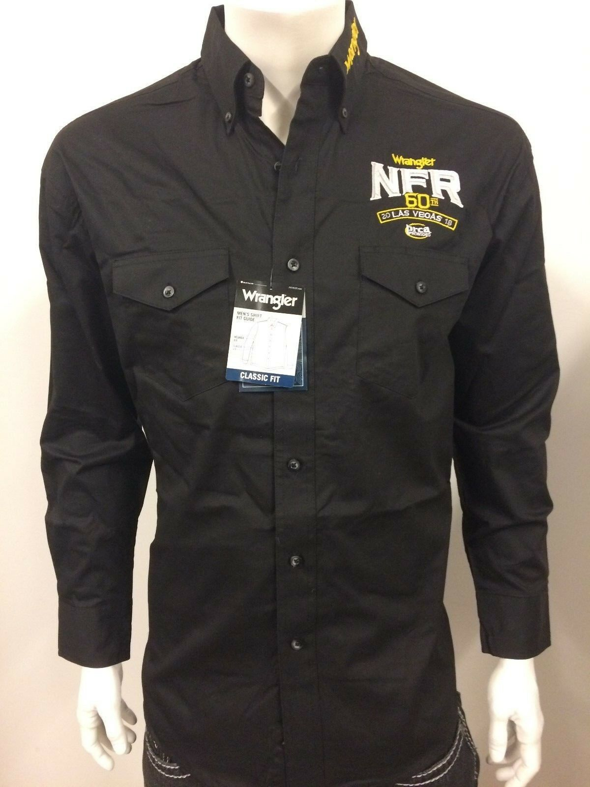 NWT Wrangler NFR Vegas Logo Rodeo Western Embroidered Long Sleeve.(SMALL) Shirt