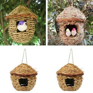 2x Grass Bird Nest Breeding Box Wild Grass Weave Canary Finch Budgie House S