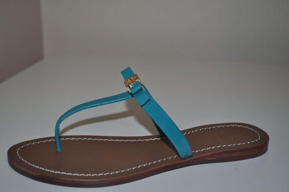 NEW Tory Burch Leighanne Bow Thong Sandals Aquarius Aqua Green bluee Sz 9