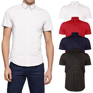 T-Shirts Camicia in Cotone Slim Fit con Doppio Colletto Uomo