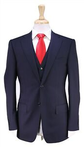 NWT-New-CC-BROTHERS-by-Corneliani-Solid-Navy-3-Pc-Super-150s-Wool-2-Btn-Suit-34R