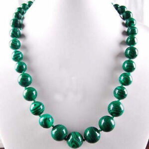 6-14mm-Green-Gorgouese-Malachite-Gem-Round-Beads-Necklace-18Inch-JN891