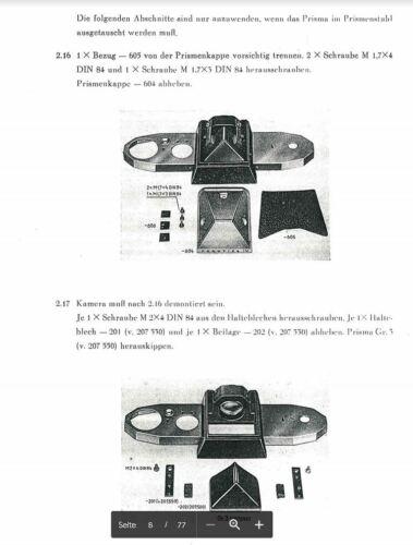 IV B reparación instrucciones y lista de materiales de VEB Dresden//614 Praktica IV