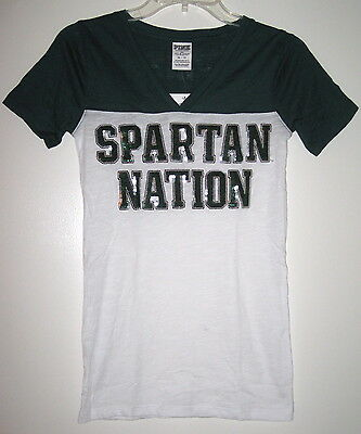 NWT VICTORIA/'S SECRET PINK MiCHIGAN STATE SPARTANS SEQUIN BLING V NECK T SHIRT