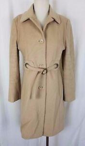 Via-Spiga-Belted-Wool-Cashmere-Maxi-Long-Coat-Peacoat-Womens-6-Tan-Khaki-Camel