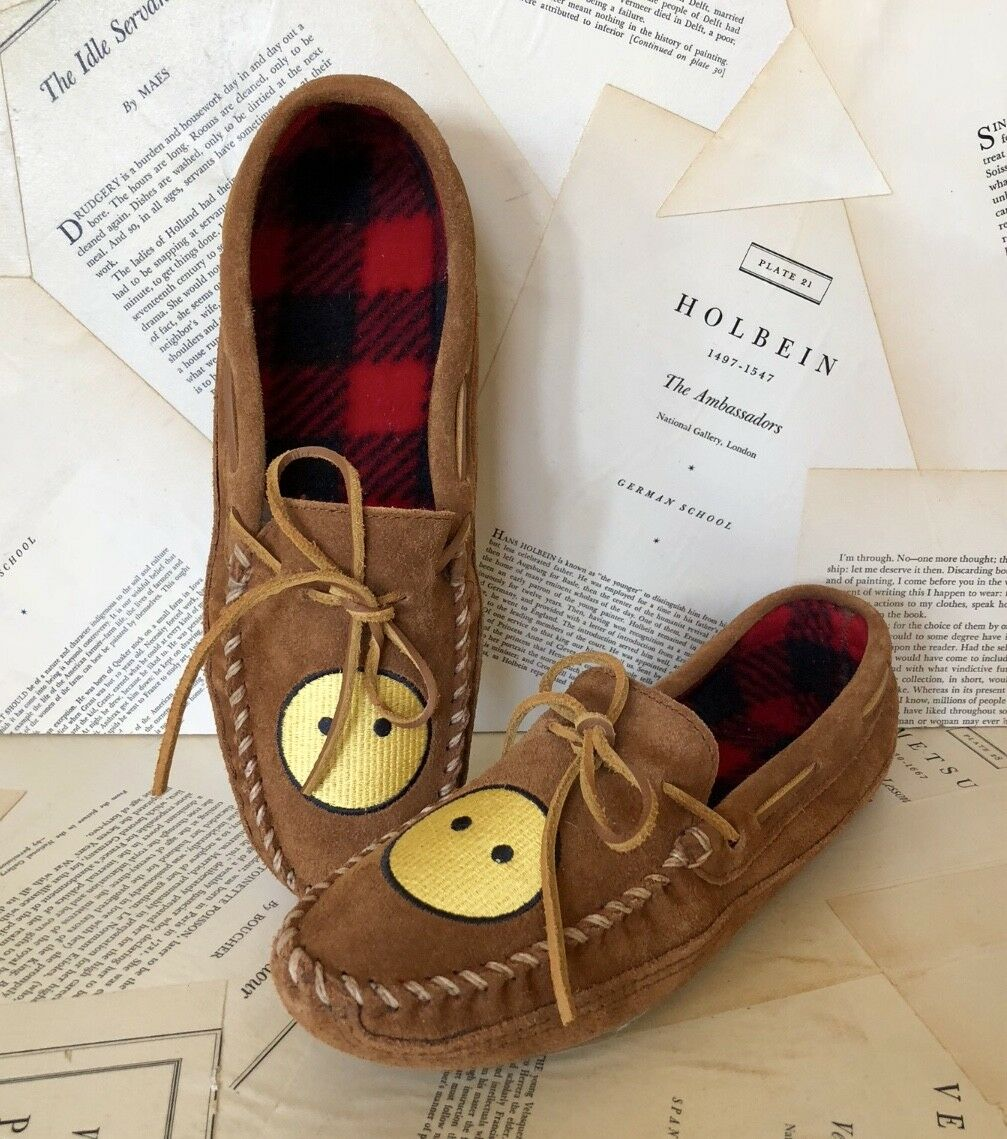 NEW Urban Outfitters Minnetonka brown Suede Happy Moccasin Face Slipper Moccasin Happy Shoe 9 4a84ca