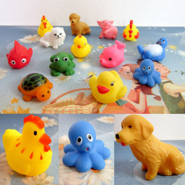 One Dozen 13pcs Rubber Animals With Sound Baby Shower Party Favors Toy Nice