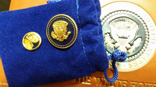 PRESIDENTIAL LAPEL PIN PRESIDENT BILL CLINTON BLUE COBALT 24 K GOLD-PLATED