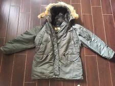 Jacket Flying Nylon Twill N3B Men's   Real Fur Trimmed Hood # Small /sage Green