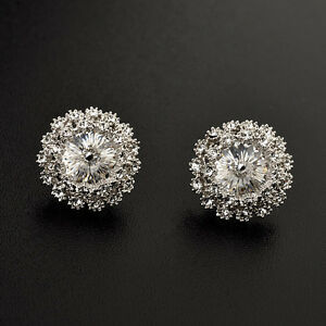 LOVELY-18K-WHITE-GOLD-PLATED-GENUINE-CLEAR-AUSTRIAN-CRYSTAL-ROUND-STUD-EARRINGS