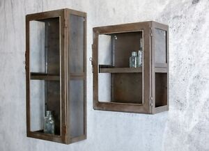 Metal Wall Cabinets antique industrial metal & glass doors wall cabinet shelf storage