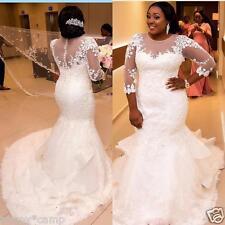 Lace White/ivory Long Mermaid Wedding Dress Bridal Gown Custom Plus Size 16-28+