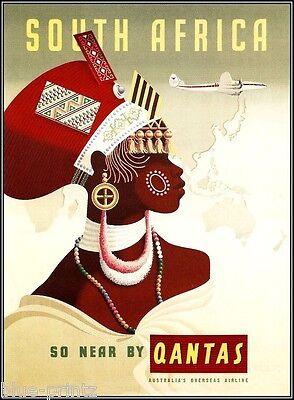 qantas south africa australia vintage travel A1 SIZE  art  print  advert