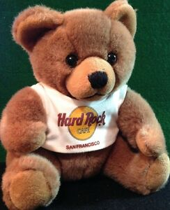 Hard-Rock-Cafe-SAN-FRANCISCO-1990-TEDDY-BEAR-Plush-w-Neon-HRC-Logo-Tee-T-Shirt