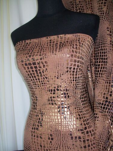 Gold Jersey Stretch Fabric With Animal Print /& Metallic Foil Fabric Material