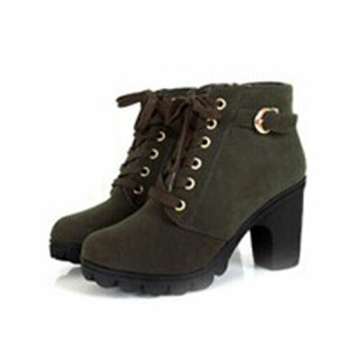 Women Zipper Side Buckle Boots Ankle Boots Lace Up High Heels Shoes Fashion New