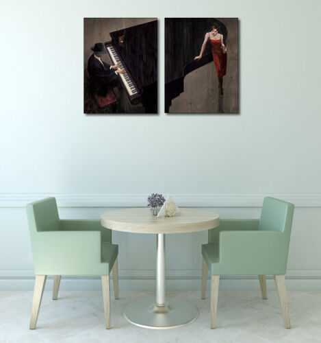 Brent Lynch Piano Bar II Wedge Frame Picture Canvas Pair Bar Cult Piano Jazz