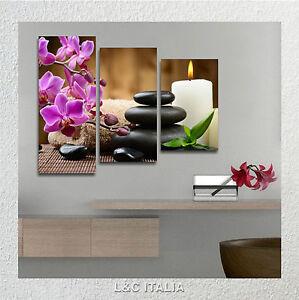Pietre zen candele 80x60 cm quadro moderno su tela arredamento bagno quadri ebay - Quadri da bagno ...