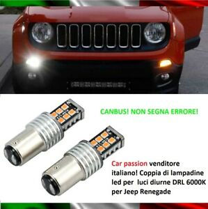 COPPIA-LUCI-DIURNE-DRL-15-LED-BAY15D-P21-5W-JEEP-RENEGADE-6000K-CANBUS-NO-ERRORE