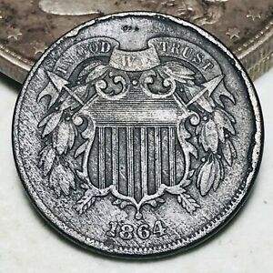 1864 Two Cent Piece 2C FULL MOTTO Details Civil War Date US Copper Coin CC6646