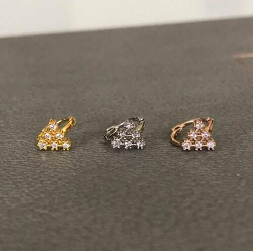 Aro de la CZ Triángulo cartílago Aro De Plata Tragus Oreja Aro delicada pendiente oreja tragus anillo