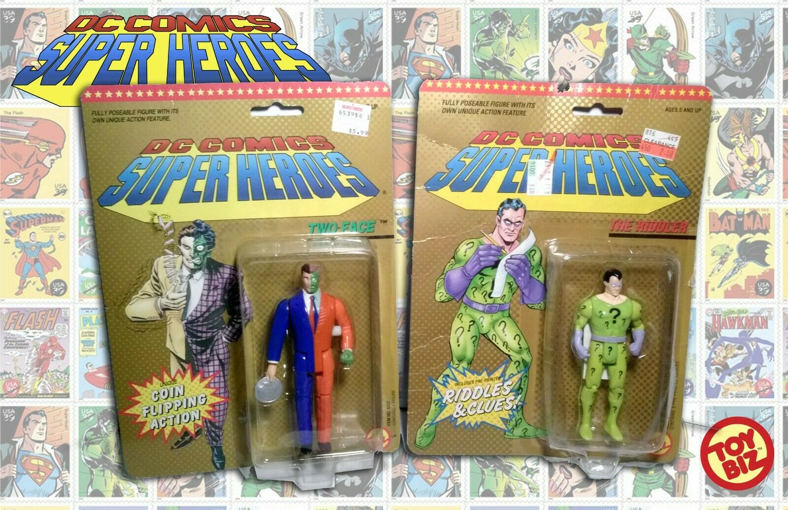 DC Superheroes Two Face Harvey Dent &  The Riddler giocattoloBiz 5  MOC 1989 Clues Coin  edizione limitata