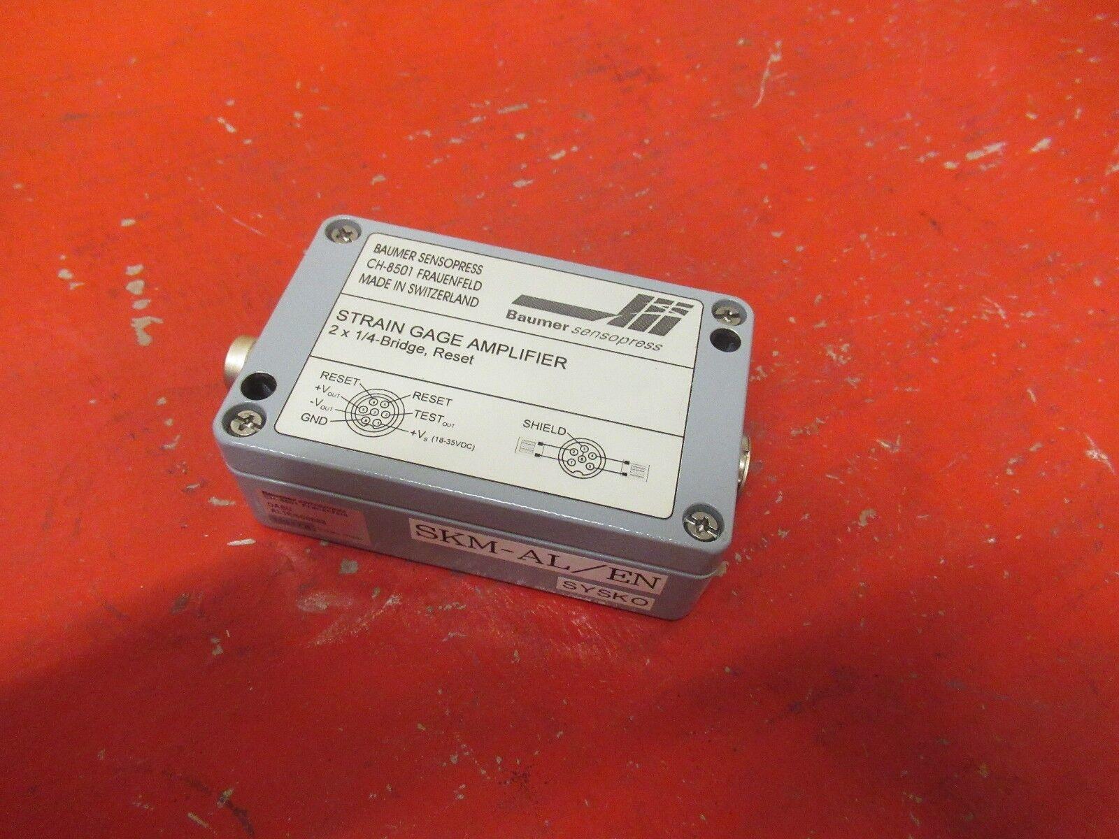 BAUMER STRAIN GAGE AMPLIFIER CH-8501 DABU AL1R 508688 2 X 1 4-BRIDGE, RESET USED