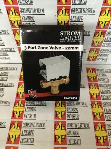 22mm 3 Port Zone Valve Strom SSZV2231 Motorised Heating Valve