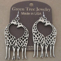 Giraffe Heart Green Tree Jewelry Natural Laser-cut Wood Earrings 1069